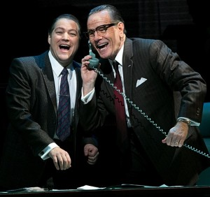 "BRYAN CRANSTON (right, as LBJ) with Robert Petkoff in ""All the Way."""