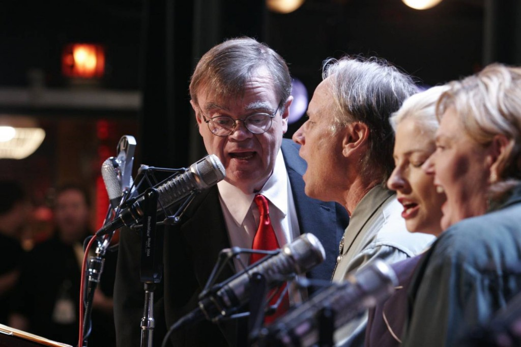 GARRISON KEILLOR (left) and friends live on the radio , onstage.