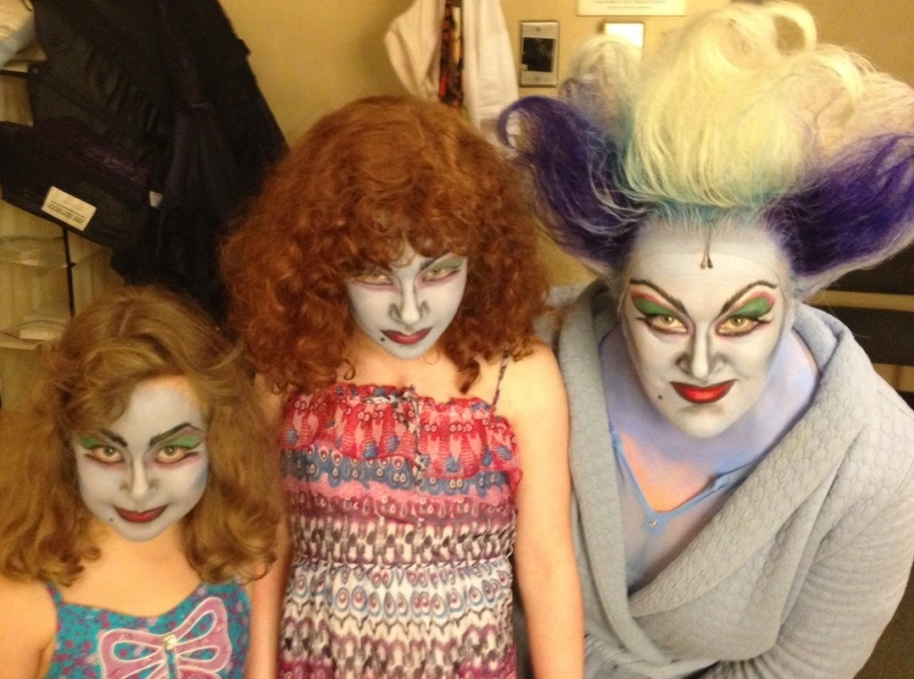 LIZ McCARTNEY with daughters Keira and Megan, in Ursula makeup, of course.