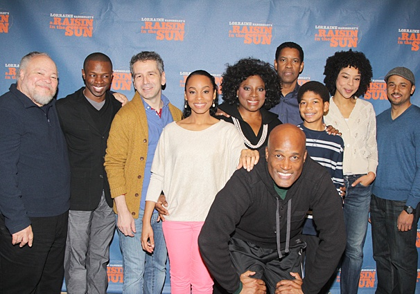 """KENNY LEON (center) and the cast of the Tony-winning """"A Raisin in the Sun."""""""