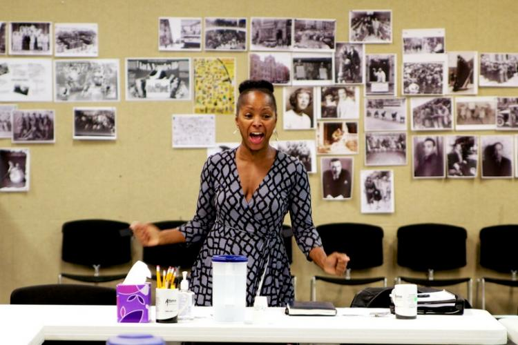 Crystal Fox in rehearsal for the anniversary production.