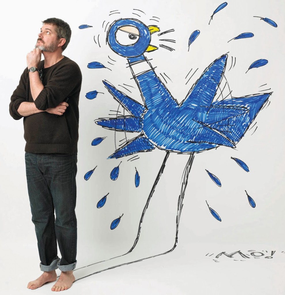 Mo Willems and his pigeon friend. Photo: Marty Umans
