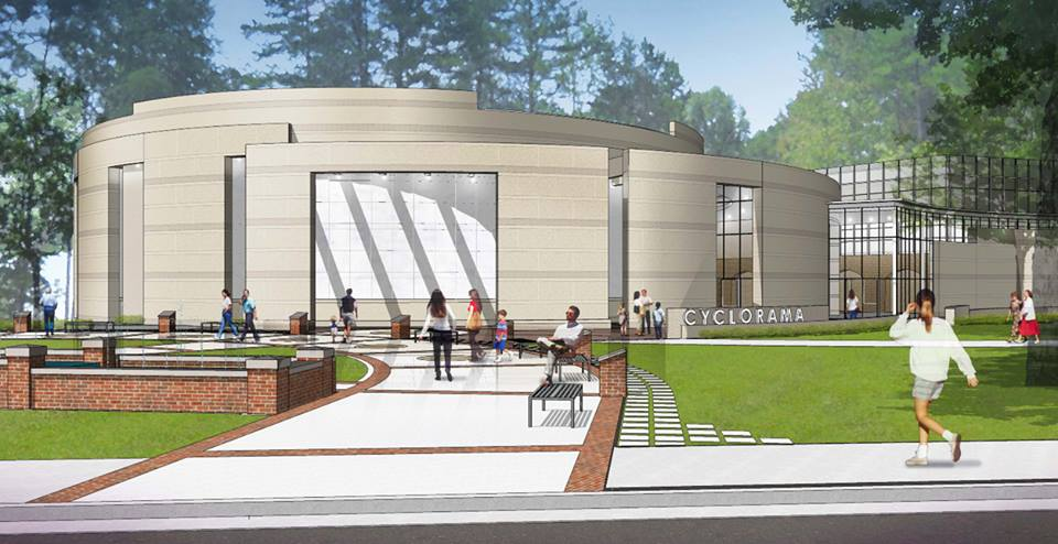 An architectural rendering of the new Cyclorama building.