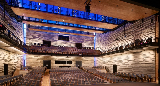 Inside the Dallas City Performance Hall, one of Trahan Architects' previous projects.