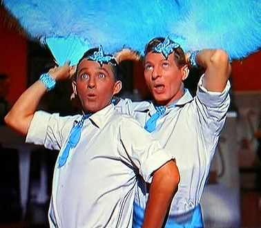 "Bing Crosby and Danny Kaye in the movie ""White Christmas."""