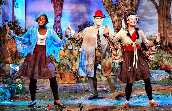 "The birds (and other characters) in ""Frog and Toad,"" Taryn Janelle (from left), Chris Brent Davis and Stephanie Earle. Photo: Chris Bartelski"