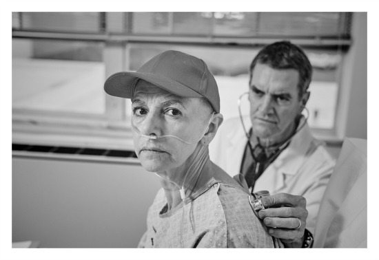 """""""Wit"""" at Aurora Theatre: Mary Lynn Owen as English professor Vivian Bearing, Chris Kayser as her chief oncologist. Photo by Chris Bartelski"""