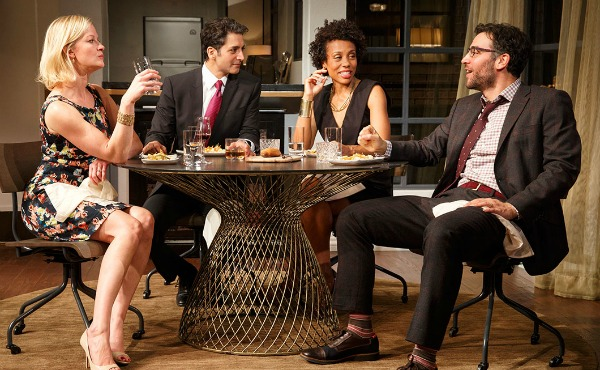 """""""Disgraced"""" on Broadway with (from left) Gretchen Mol, Hari Dhillon, Karen Pittman and Josh Radnor. Photo: Joan Marcus"""
