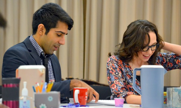 """""""Disgraced"""" at the Alliance: Jaspal Binning and Courtney Patterson, who play husband and wife, at the first rehearsal. Photo by Kathleen Covington"""