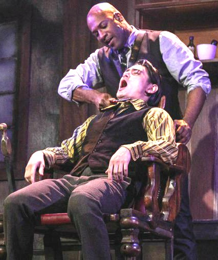 Kevin Harry as Sweeney, giving his patented close shave. Photo: BreeAnne Clowdus