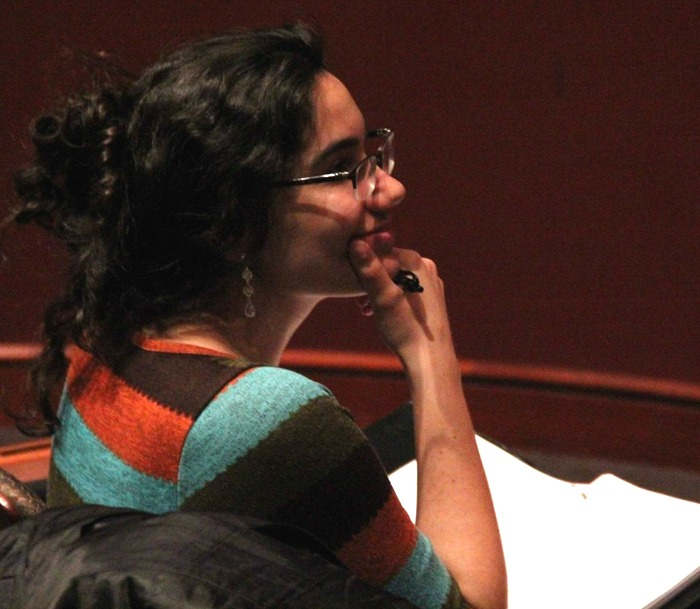 Playwright Eleanor Burgess, script in hand, in rehearsal.