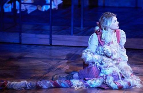 Caroline Arapoglous as Rapunzel (and her hair. Photo: Chris Bartelski