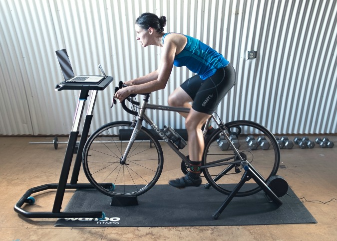A Wahoo Fitness bike/desk prototype.