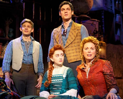 Andrew Keenan-Bolger, Sarah Charles Lewis, Robert Lenzi, Carolee Carmello in TUCK EVERLASTING on Broadway. Photo by Joan Marcus