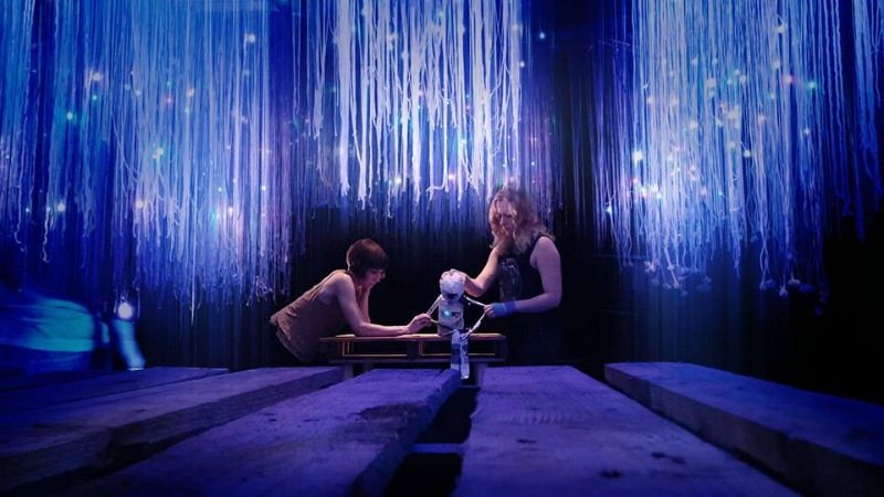 Photo caption and credit: Inside I went through multiple residencies and workshops while creating the final production. Pictured is current cast member Tera Buerkle and workshop member,Megan Jance. Photo by Peter Torpey
