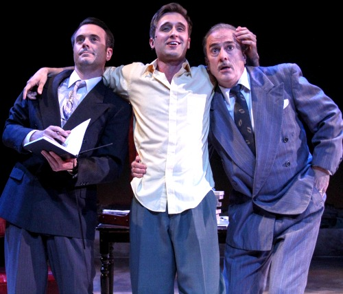 The lovesick Fabrizio (Tim Quartier, center) with his brother (Joe Knezevich) and father (Michael Strauss). Photo: BreeAnne Clowdus