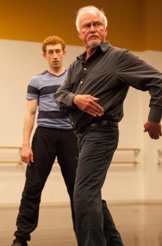 John McFall, in rehearsal with dancer Heath Gill. Photo: Charlie McCullers