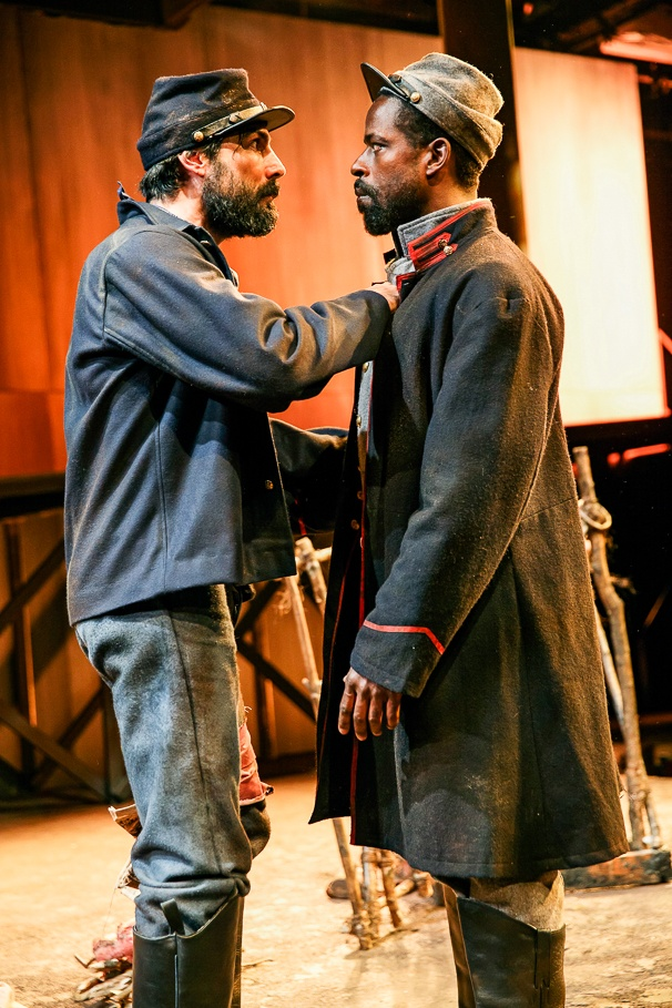 "In the original ""Father Comes Home From the Wars,"" Sterling K. Brown played Hero (riight) and Louis Cancelmi a Union captive names Smith."