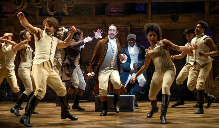 Lin-Manuel Miranda (center) as Alexander Hamilton and company. Photo: Joan Marcus