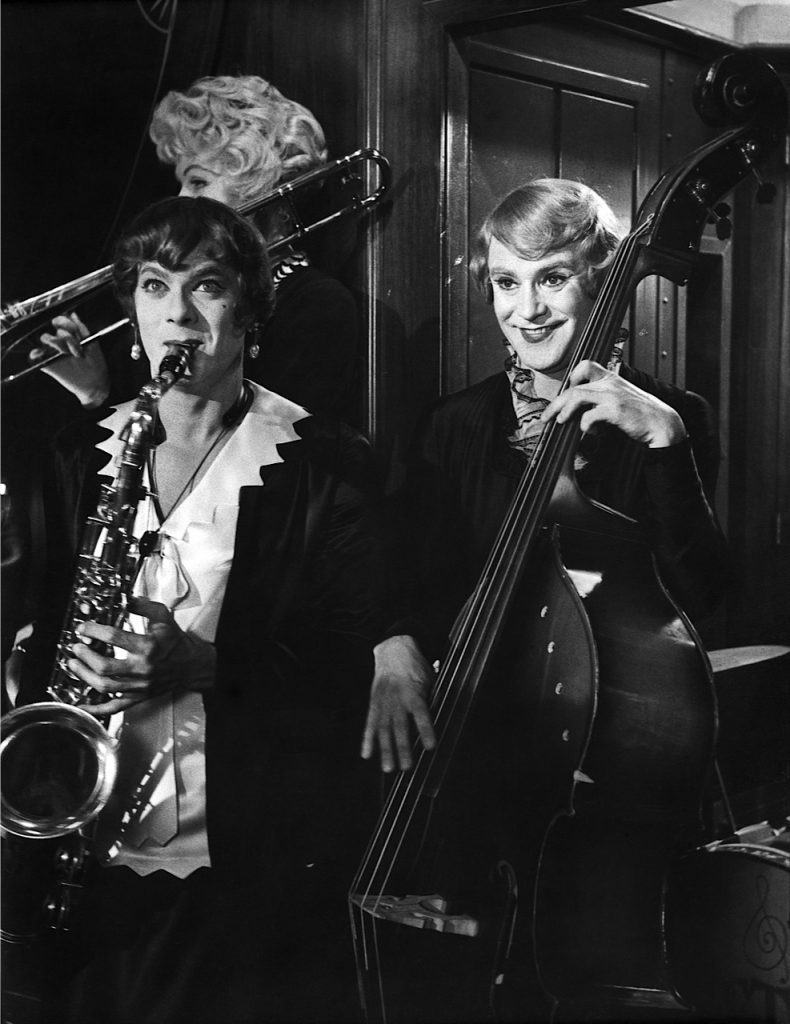 "Tony Curtis (left) and Jack Lemmon toot their horns and move their hips in ""Some Like It Hot,"" chosen by Fox fans on Facebook and screening xxxxx. Photo: Fox Theatre"