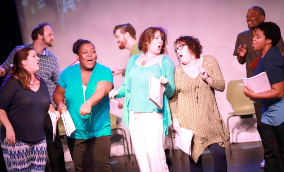 """THE FINE ART OF FORGETTING"": Marcie Millard (from left), Kayce Grogan-Wallace, guy, Wendy Melkonian, Lorenzo Sanford, TC Carson and Renita James."