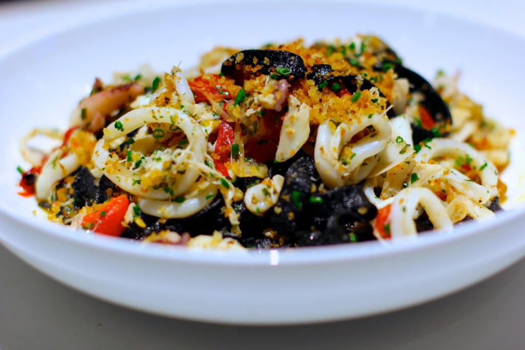Black tagliatelle with squid at 5Church. Photo: David Danzig