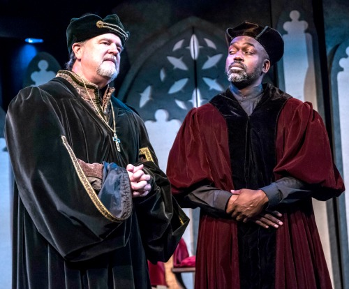 From left: Allan Edwards (Dean Lancelot Andrewes; Thomas Cromwell in Act i) and Kerwin Thompson (Dr. John Reynolds; Cardinal Wolsey in Act i). Photo: Daniel Parvis