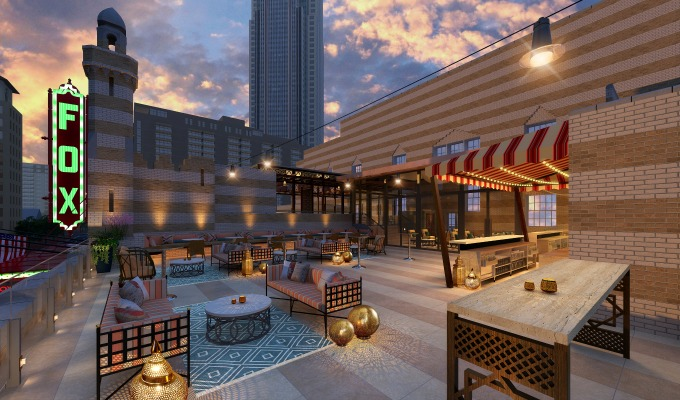 A view of the proposed rooftop terrace, overlooking the Fox Theatre marquee. Photos courtesy of the Fox Theatre