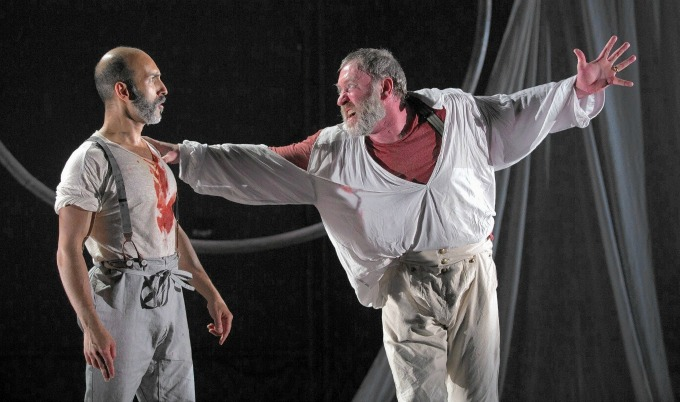 Jamie Abelson as Ishmael and Christopher Donahue as Ahab. All photos by Liz Lauren