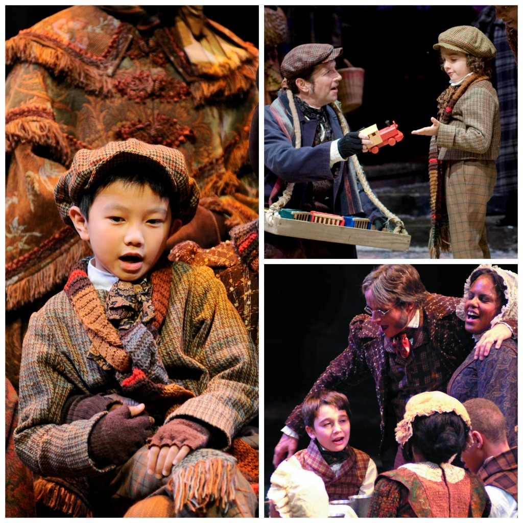 """Clockwise, from left: Morgan Gao, now in """"Holiday Inn"""" on Broadway, as Tim in 2012; Royce Mann, with ensemble member Brad Sherrill, in 2008; and Chas Crawford, with his Crachit family, in 2002. Photos: Eric Richardson (2002), Greg Mooney (2008, 2012)."""