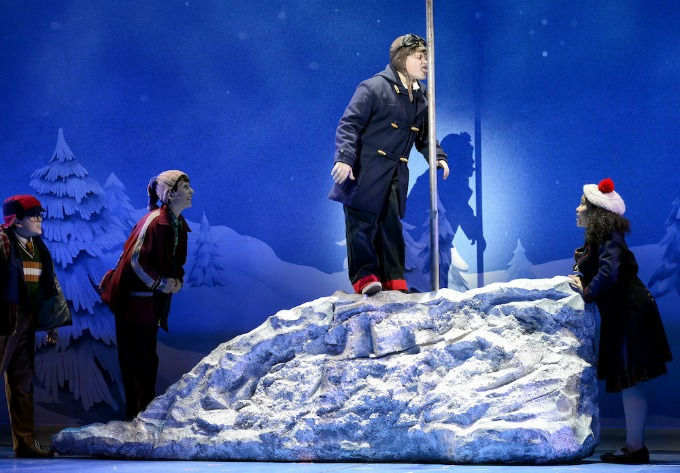 "The national touring company of ""A Christmas Story,"" at a particularly sticky spot in the plot."