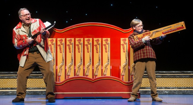 Chris Carsten as the storyteller, Jean Shepherd, and Myles Moore as Ralphie. Photo: Jesse Shreve