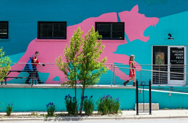 Exterior, Pink Dog Creative. Notice the, umm, big pink dog. Photo: Mary Gabbett