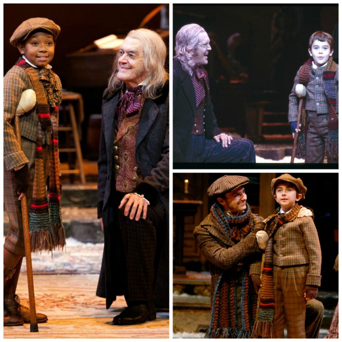 Tiny Tims from the past (clockwise, from left): Nicholas Sanders, with Chris Kayser as Scrooge, in 2011; Bryce Golsen with Kayser in 2003; and Tendal Mann, with JC Long as Peter Cratchit, in 2007. Photos: Eric Richardson (2003), Greg Mooney (2008 and 2011).