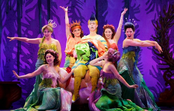 "Connor Russell as Flounder and the ""Little Mermaid"" company. Photo: Tracy Martin"
