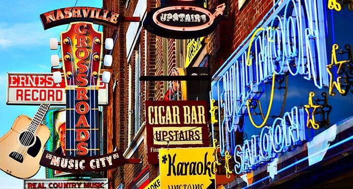 The city lights of Nashville.