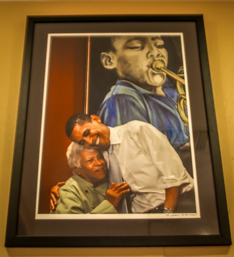 This framed portrait of Leah Chase and President Obama hangs prominently in Dooky Chase's, where Leah is in charge.
