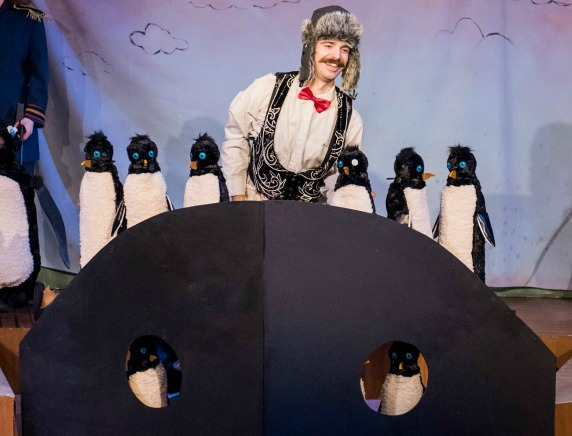 Mr. Popper (Brandon Partrick) and his amazing performing penguins. Photo: Katie V. Cathell
