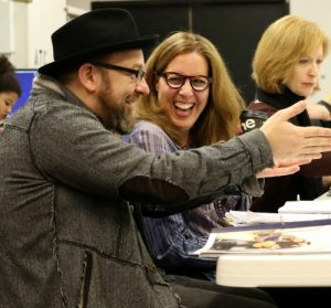 "At ""Troubadour's"" first rehearsal (from left) Kristian Bush, Janece Shaffer and Susan V Booth. Photo: A'riel Tinter"