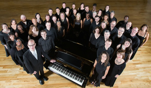 The Atlanta Opera Chorus in an undated photo, with chorus master Walter Huff (front, left). Photo: Jeff Rothman