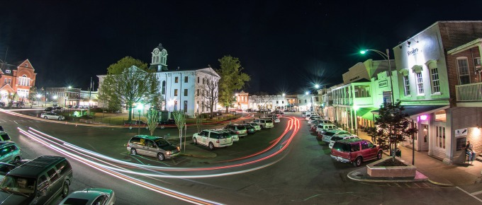 Oxford's Courthouse Square at night. PhotoL Visit Oxford