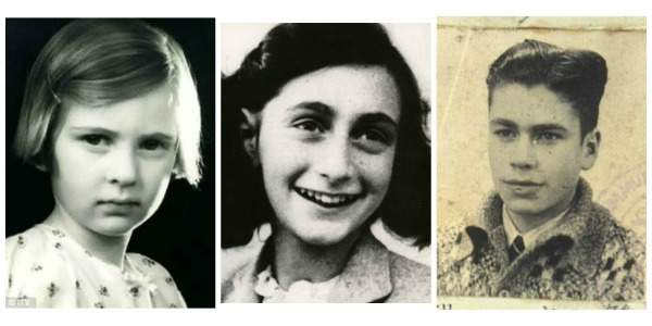 Eva Geiringer, Anne Frank and Ed (Hello) Silverberg as they looked during World War II.