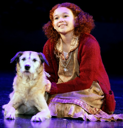 Rescue pup Macy plays Sandy; Tori Bates as Annie. Photo: Joan Marcus