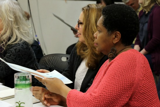 "Day 1 of ""Cinderella and Fella"" rehearsals with (from left) director Rosemary Newcott, playwright Janece Shaffer and composer S. Renee Clark. Photo: A'riel Tinter"