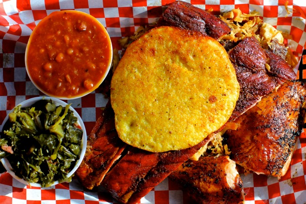 A barbecue plate, yum, from B's Cracklin Barbecue near Bolton Road.
