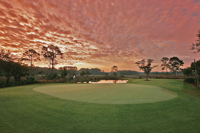 The King and Prince Beach & Golf Resort, on St. Simons Island, at sunset. Photo: Georgia Golf Trail