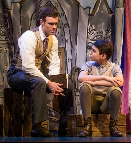 Billy Harrigan Tighe as J.M. Barrie and Ben Krieger as Peter.