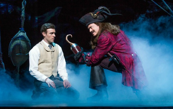 Billy Harrigan Tighe as J.M. Barrie and Tom Hewitt as Captain Hook in Finding Neverland Credit Jeremy Daniel