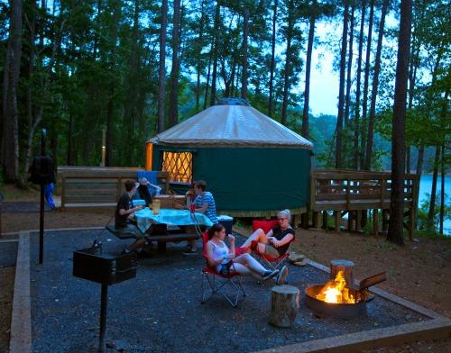 Outside a Georgia yurt, and lakeside. Photo: Georgia Department of Natural Resources