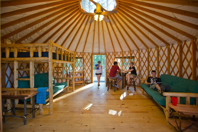 Six Georgia State Parks have yurts like this one. Each holds up to six glampers and comes with comfy beds, screened windows, locking doors, electricity and, in winter, heat. Photo: Georgia Department of Natural Resources.